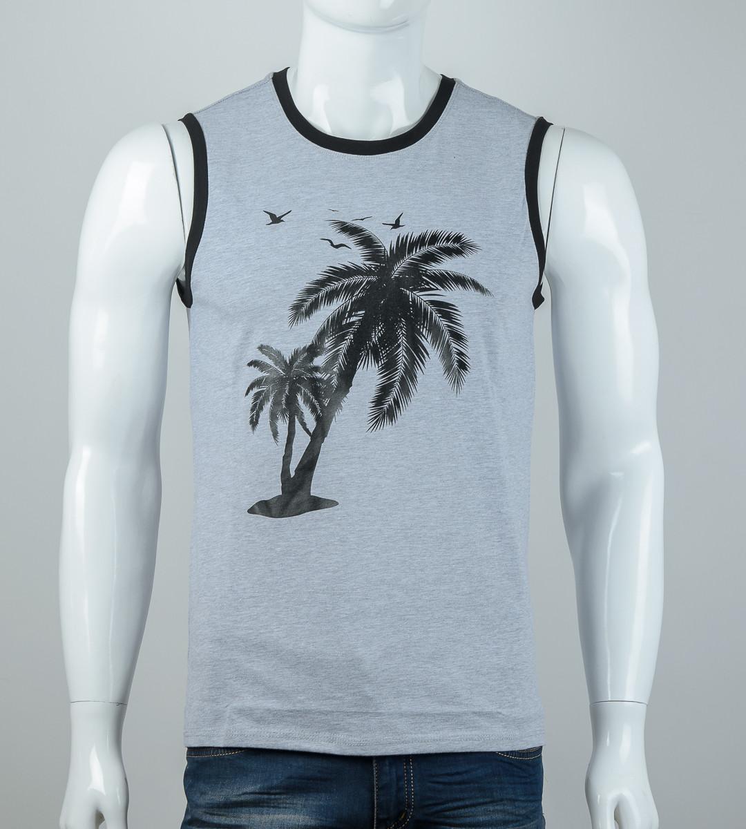 Безрукавка мужская Пальмы (2077бм), Серый