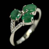 Серебряное кольцо с изумрудом, 4*6 мм., 1462КИ, фото 1