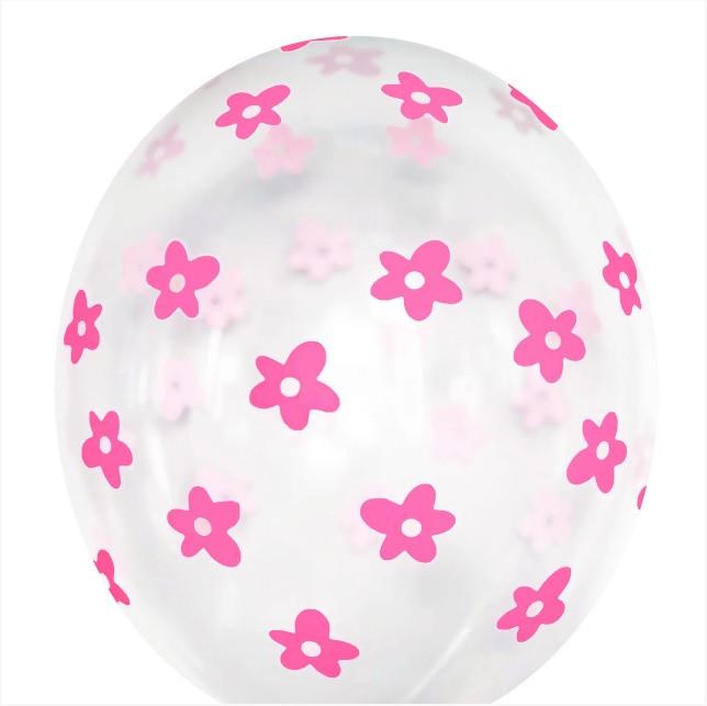 """Куля 12"""" (30 см) прозорий рожевий квіточку"""