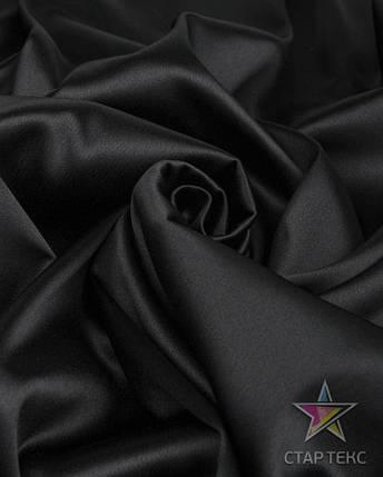 Ткань Атлас Королевский (стрейч плотный) Черный, фото 2