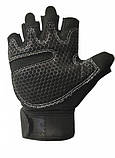 Перчатки для тренажерного зала велосипеда с напульсниками Sunny Mist безпалые черные, фото 2