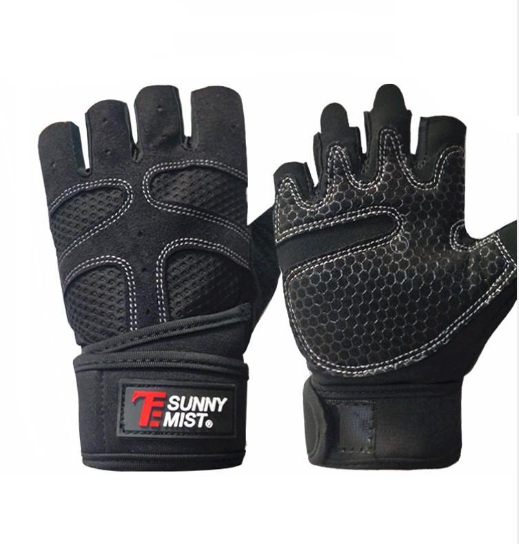 Перчатки для тренажерного зала велосипеда с напульсниками Sunny Mist безпалые черные