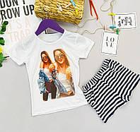Летний комплект летний костюм для девочки с шортами и футболкой