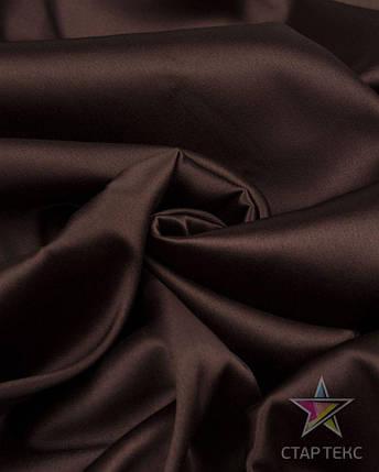 Ткань Атлас Королевский (стрейч плотный) Шоколад, фото 2