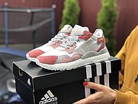 Подростковые (женские) кроссовки Adidas Nite Jogger Boost 3M,белые с персиком