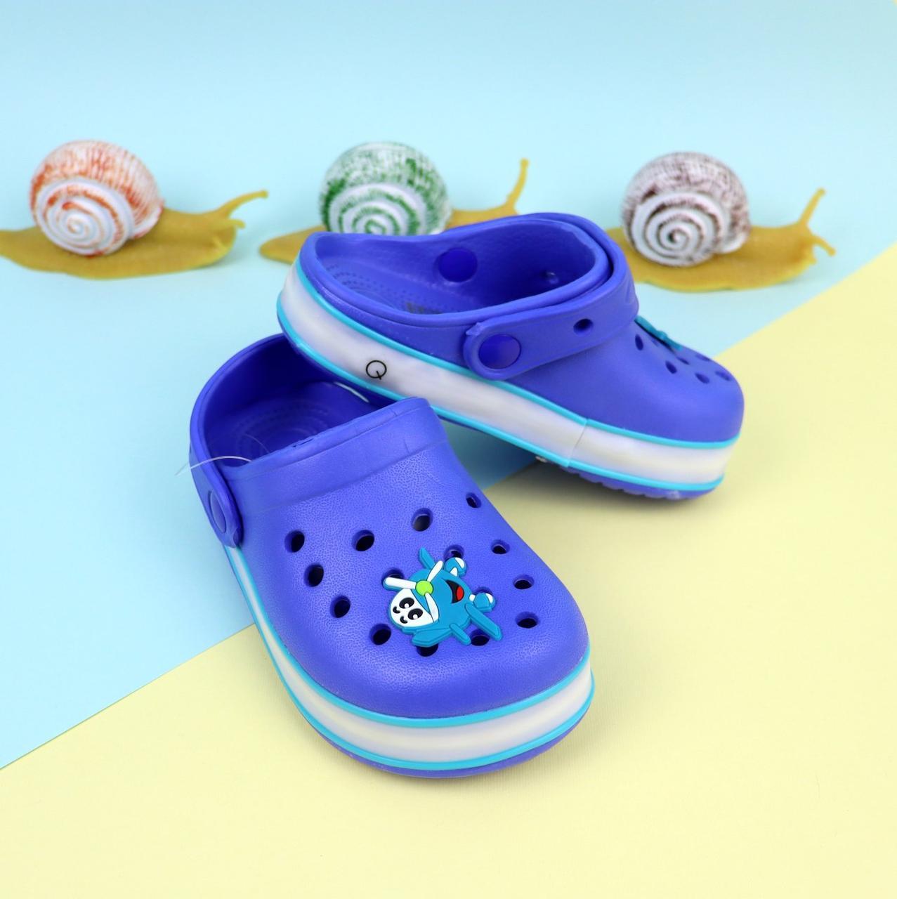 Синие кроксы для мальчика с led подсветкой тм GIOLAN размер 20,21,24,29,30,31,32,33,34,35