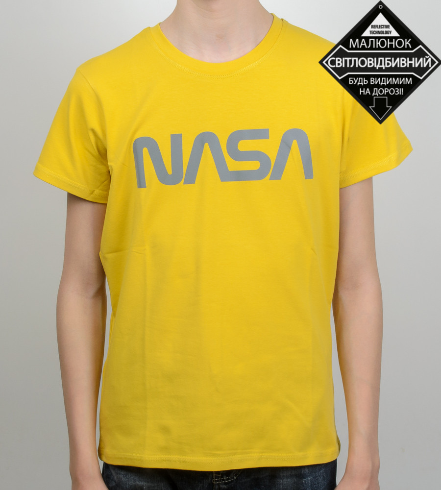 Футболка подростковая светоотражающая NASA (0915п), Горчица