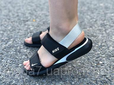 Босоножки сандали женские нат. кожа черные Nike реплика