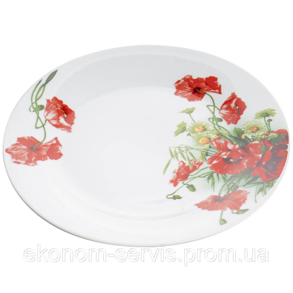 Тарелка фарфоровая с принтом Полевой мак 9' (6 штук в наборе)