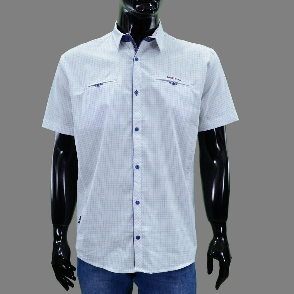 Сорочка чоловіча (приталена) з коротким рукавом Bagarda BG5701 WHITE 97% бавовна 3% еластан XXXL(Р)