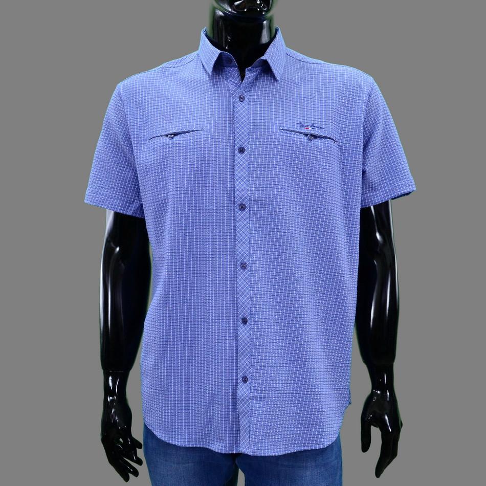 Сорочка чоловіча (приталена) з коротким рукавом Bagarda BG5730 INDIGO 93% бавовна 7% еластан L(Р)