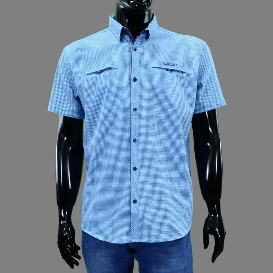 Сорочка чоловіча (приталена) з коротким рукавом Bagarda BG5706 MINT 93% бавовна 7% еластан L(Р)