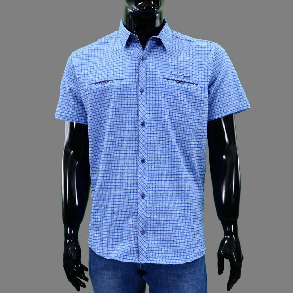 Сорочка чоловіча (приталена) з коротким рукавом Bagarda BG5729 BLUE 93% бавовна 7% еластан XXXL(Р)