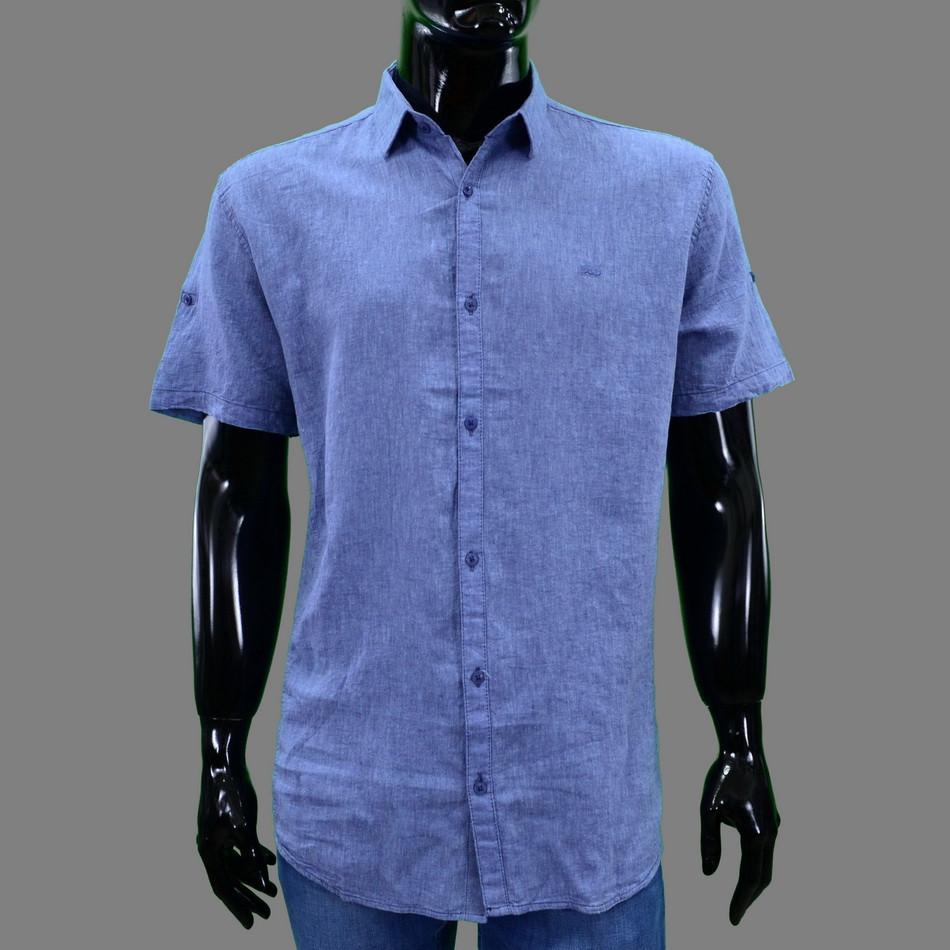 Сорочка чоловіча (приталена) з коротким рукавом Bagarda BG5727 INDIGO 80% льон 20% бавовна XXXL(Р)