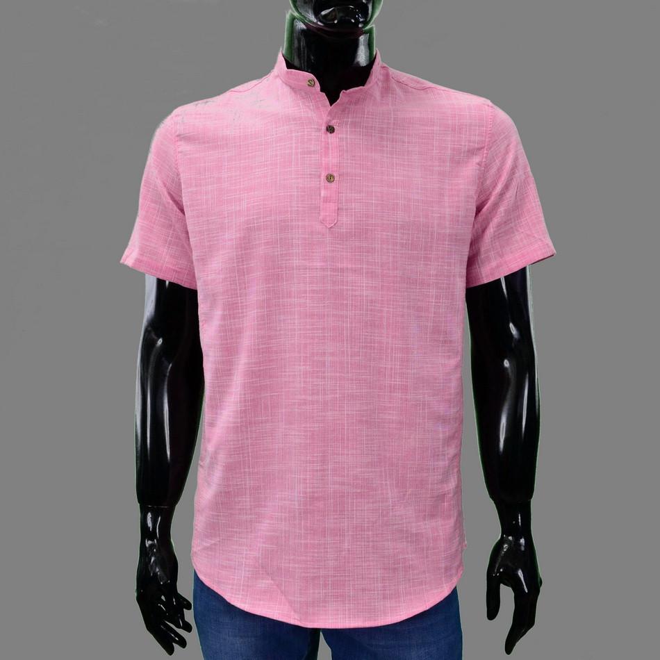 Сорочка чоловіча (приталена) з коротким рукавом Bagarda BG5821 PINK 80% льон 20% бавовна XXL(Р)