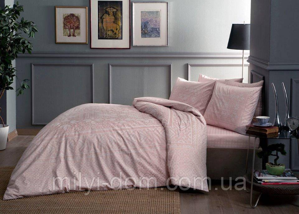 Набор постельного белья TAC Fabian Pink Сатин (двуспальный евро)
