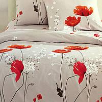 """""""Красные маки"""" Семейный комплект постельного белья Elway Premium,ткань сатин 100% хлопок"""