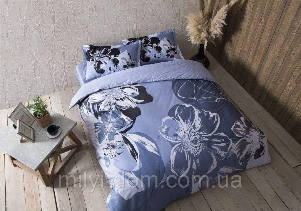 Набор постельного белья TAC Serah Blue Сатин (двуспальный евро)