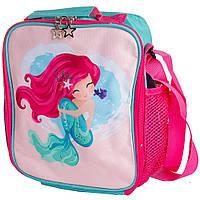 🔝Термосумка рюкзак бирюзовая с принтом русалки. Маленькая детская термосумка сумка для еды   🎁%🚚