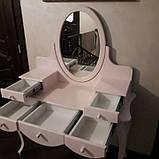 Туалетний столик з дзеркалом білий МДФ 5 ящиків (147х110х45 см), фото 2
