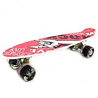 Пенни борд (скейт) с бесшумными светящимися колесами, 55х14 см (Rock) S-29661