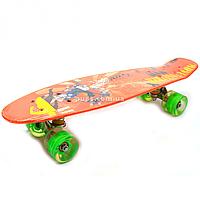 Пенни борд (скейт) с бесшумными светящимися колесами, 55х14 см (Оранжевый Movie) S-20888