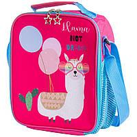 🔝Термосумка рюкзак малиновая с принтом ламы. Маленькая детская сумка холодильник | 🎁%🚚
