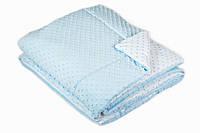 Детское мягкое одеяло и подушка в кроватку двустороннее Twins Minky 120х90 см, голубое