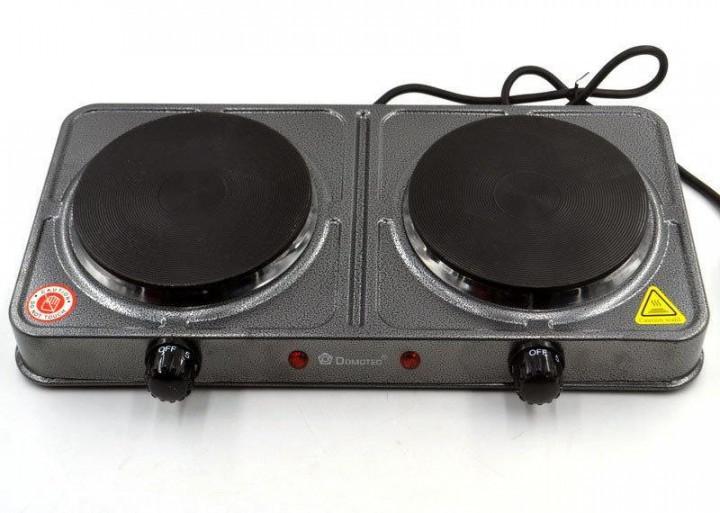 Настольная электрическая плита на 2 конфорки Domotec MS-5822 2000W Серая, двухкомфорочная электроплита (GK)