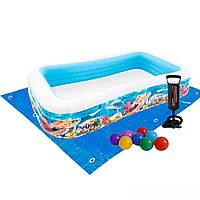 Детский надувной бассейн Intex 58485-2 «Тропический риф», 305 х 183 х 56 см, с шариками 10 шт, подстилкой, насосом
