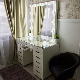 Гримерный столик M622 ДСП Белое ручки изгиб прямоугольный, зеркало в Раме (Markson TM)