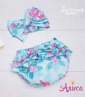 "Летний комплект для девочки ""Фламинго на бирюзовом"":  Трусики на памперс (Блумеры) + Афробант"