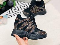 Женские ботинки, сникерсы под бренд Louis Vuit на высокой подошве черного цвета 37р ( маломерят на 2 размера )
