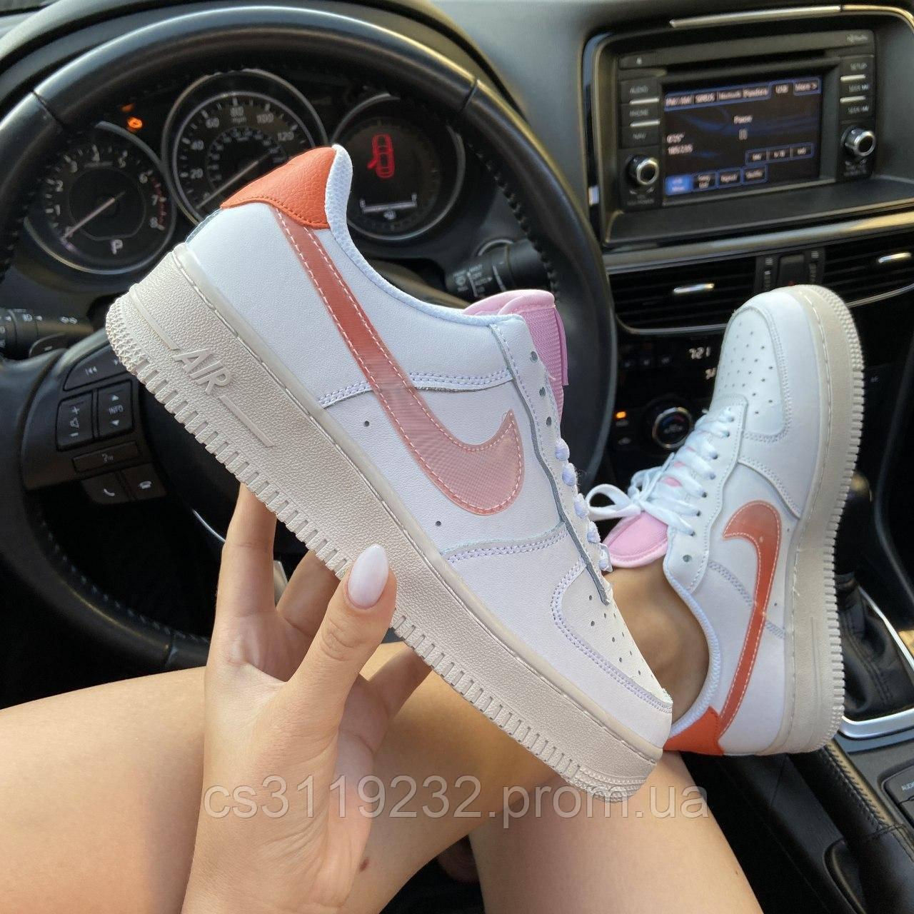 Женские кроссовки Nike Air Force 1 Digital Pink Adds Beige Soles (белый/бежевый)