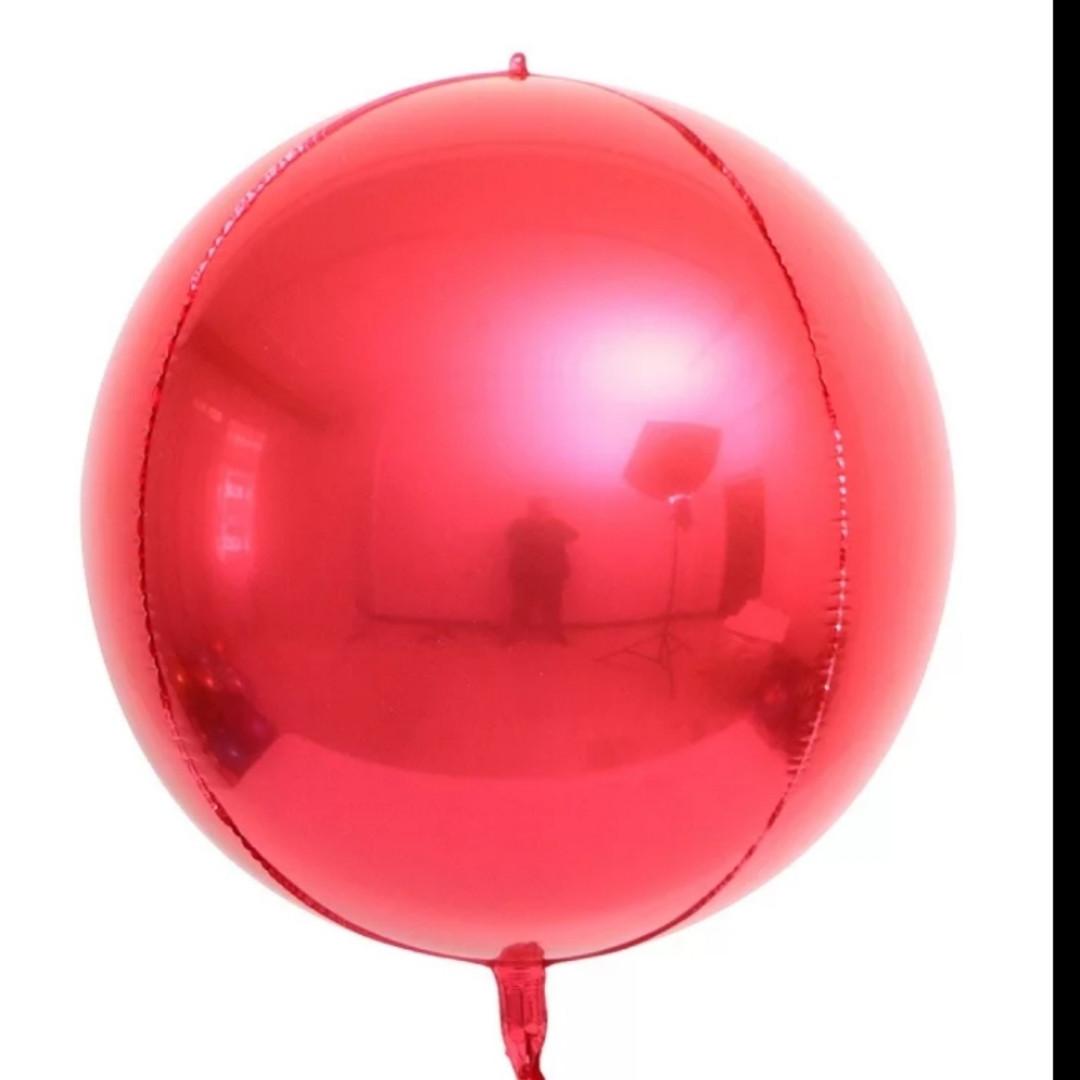 "Фольгований куля сфера 4D, червона 32""/80 див."