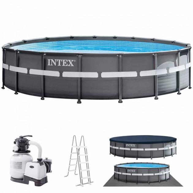 Бассейн каркасный Intex 26330 Свежая модель 549x133 см + Песочный Насос-фильтр, Лестница, Тент, подстилка