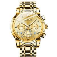 Кварцевые мужские часы Olevs (золото) Стильные Водонепроницаемые Противоударные мужские часы