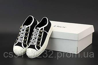 Женские кроссовки Dior Low-Top Sneakers Black White (черный)