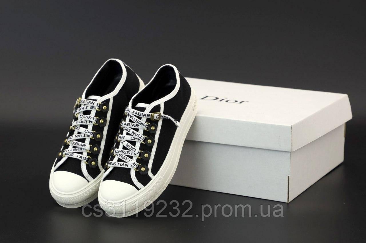 Жіночі кросівки Dior Low-Top Sneakers Black White (чорний)