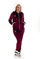 Женский спортивный велюровый костюм, с капюшоном, брюки без манжета, р. 50,52,54 бордо (к4)
