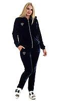 Женский спортивный велюровый костюм, с капюшоном, брюки без манжета, р. 48-50 темн-синий (к4)