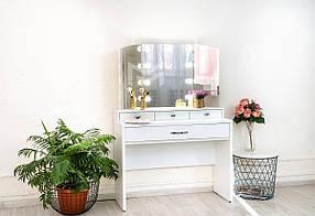 Гримерный столик М624 с подсветкой и тремя зеркалами, ДСП Белое ручки Эстет (Markson TM)