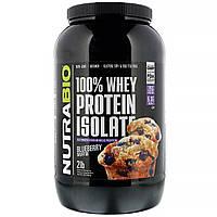 NutraBio Labs, 100% изолят сывороточного протеина, «Кекс с черникой», 907 г (2 фунта)