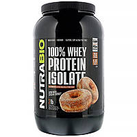 NutraBio Labs, 100% изолят сывороточного протеина, «Пончик с коричным сахаром», 907 г (2 фунта)
