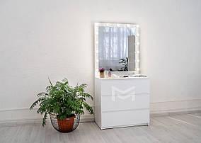 Гримерное зеркало M625 с подсветкой и комодом ДСП Белое (Markson TM)