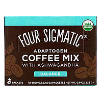 Four Sigmatic, Adaptogen Coffee Mix with Ashwagandha, 10 Packets, 0.09 oz (2.5 g) Each