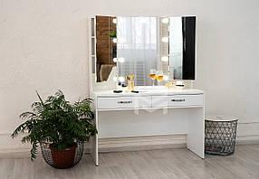 Гримерный столик М626 с тремя зеркалами ДСП Белое ручки Эстет (Markson TM)