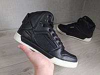 Мужские кроссовки высокие черные демисезон текстиль/кожа резина