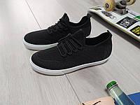 Мужские  кроссовки  черные летние  текстиль резина