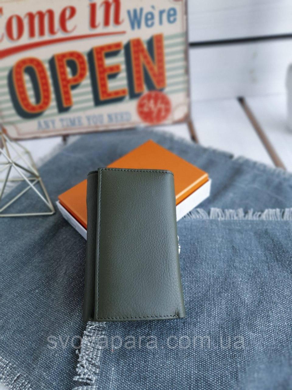 Женский кожаный кошелек размером 8х14х2,5 см Темно-зеленый (3548)